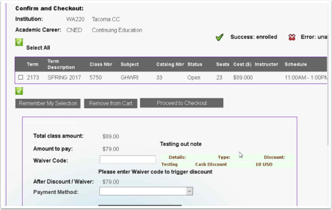 Confirm and Checkout Shopping Cart Page