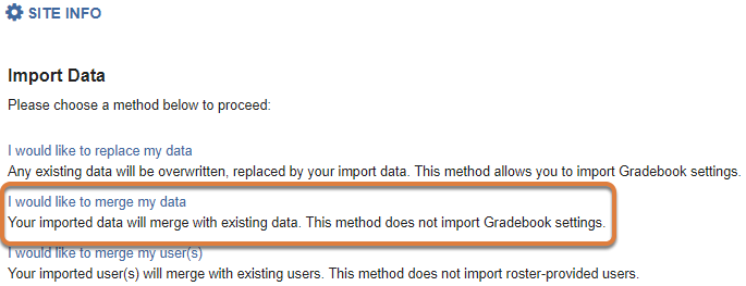 Import from Site option - merge data