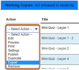 Tests & Quizzes export option