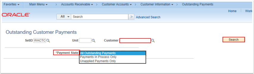 Outstanding Customer Payments Search