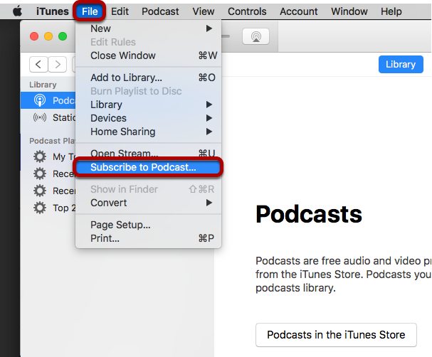 Click File / Subscribe to Podcast.