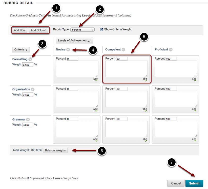 Creating an interactive rubric in blackboard blackboard learn image of the section labeled rubric details with the following annotations 1 add ccuart Image collections
