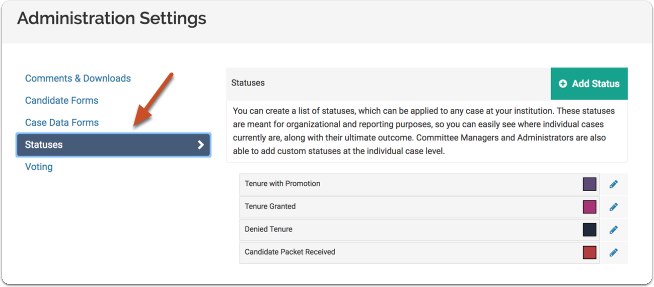 "Select the ""Statuses"" tab on the Administration Settings page"