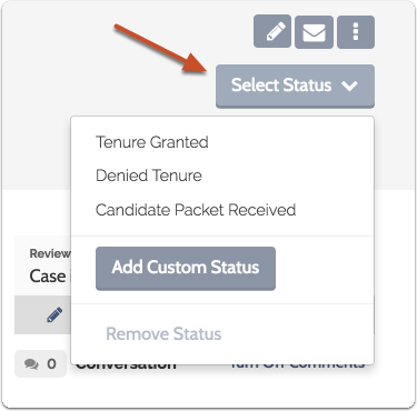 "Click ""Select Status"" and choose a status from the list"