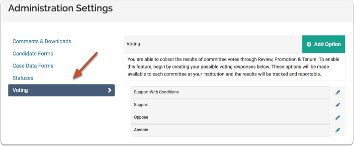 """Select the """"Voting"""" tab on the Administration Settings page"""