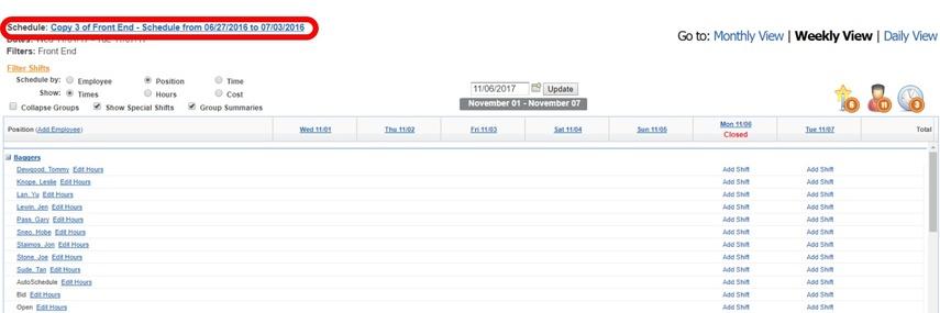 Create a schedule snapshot.