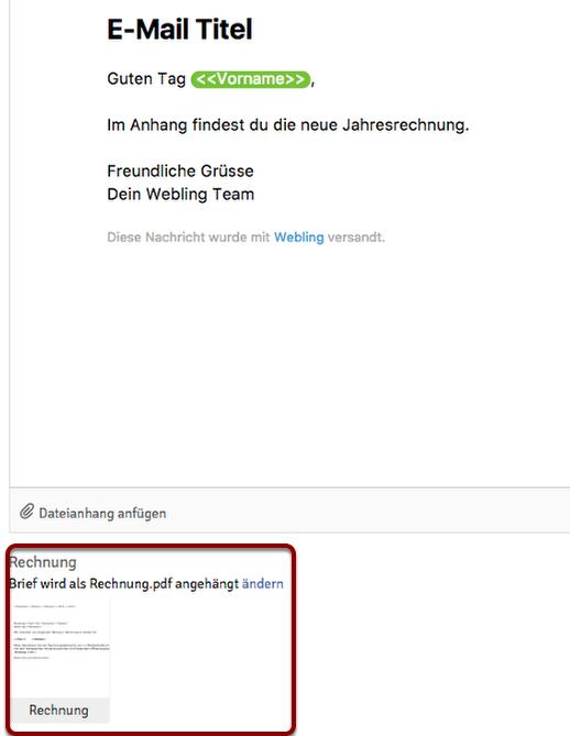 Rechnung Per E Mail Versenden Webling Support