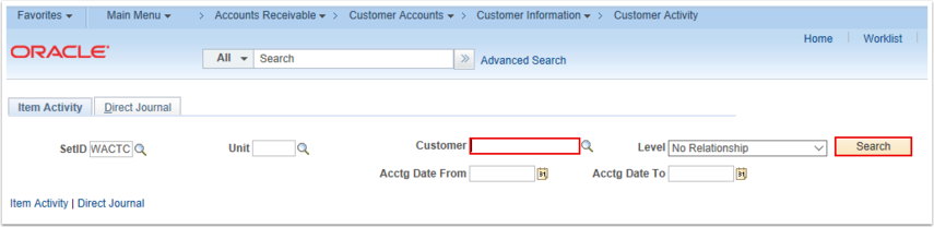 Customer Activity Search Page
