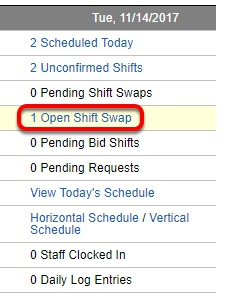 "View open ""shift swaps""."