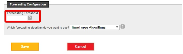 Sales category forecasting threshold--TimeForge Algorithm.