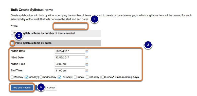 Create a title and select the item dates and times