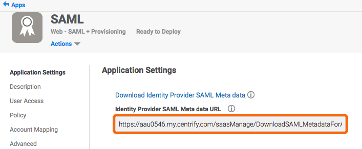 Copy the Identity Provider SAML Meta data URL