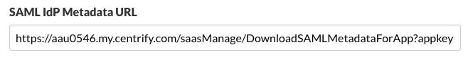 SAML IdP Metadata URL