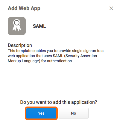 Add SAML Web App confirmation