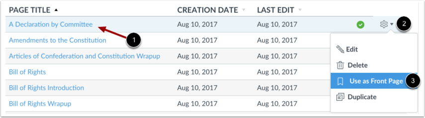 Set Front Page in Pages List