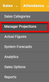 "Go to the ""Manager Projections"" page."