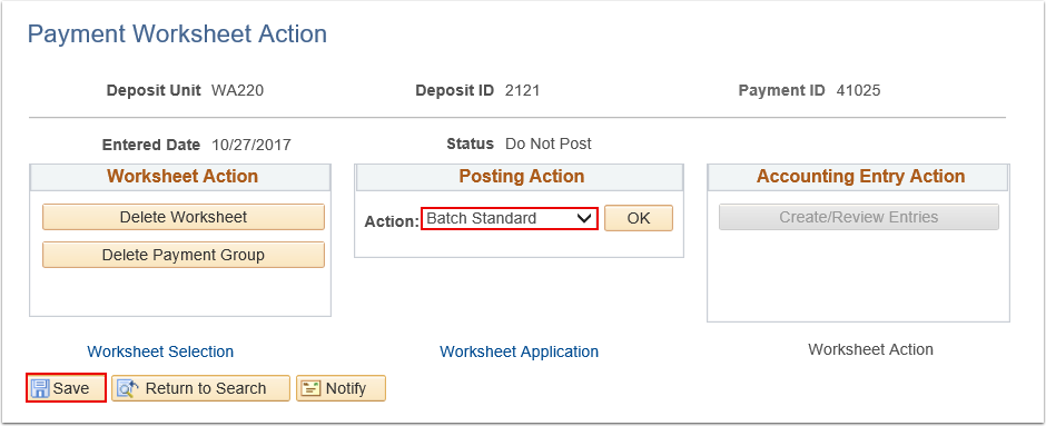 Payment Worksheet Action page