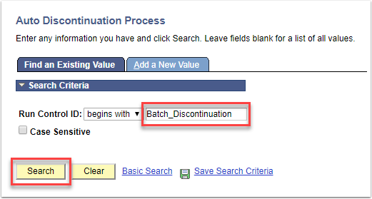 Auto Discontinuation Process page - Find an Existing Value tab