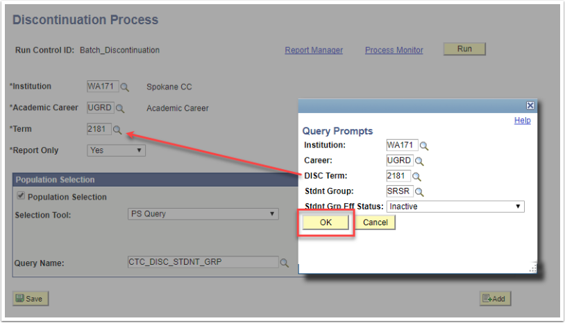 Discontinuation Process page - Query Prompts page