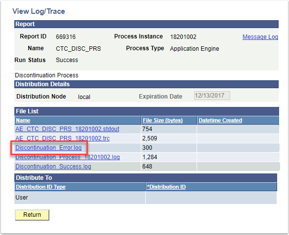 View Log/Trace Discontinuation Error.log