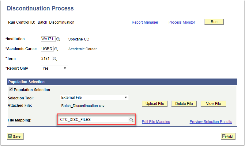 Discontinuation Process page - Population Selection section