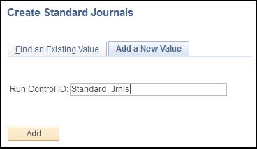 Create Standard Journals