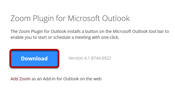 Zoom Outlook Plug-in Download