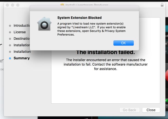 Producer Installation Fails on Mac – Livestream