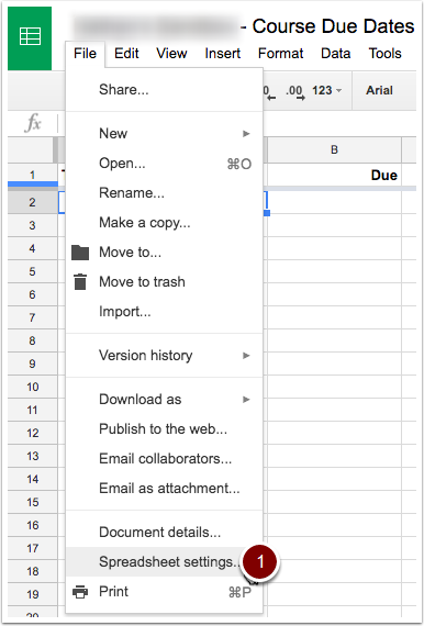 Select spreadsheet settings from the file menu drop down.