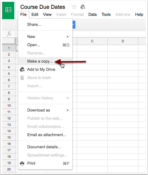 Select make a copy from the file menu.