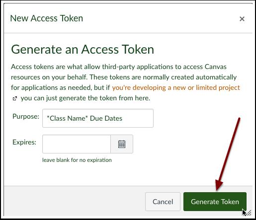 Select generate token.