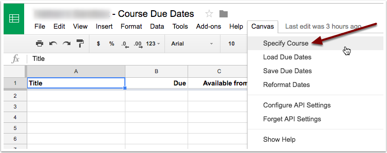 Select specify course from the canvas drop down menu.