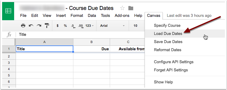 Select load due dates from the canvas drop down menu.