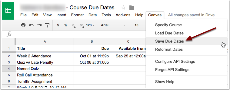Select save due dates from the canvas drop down menu.