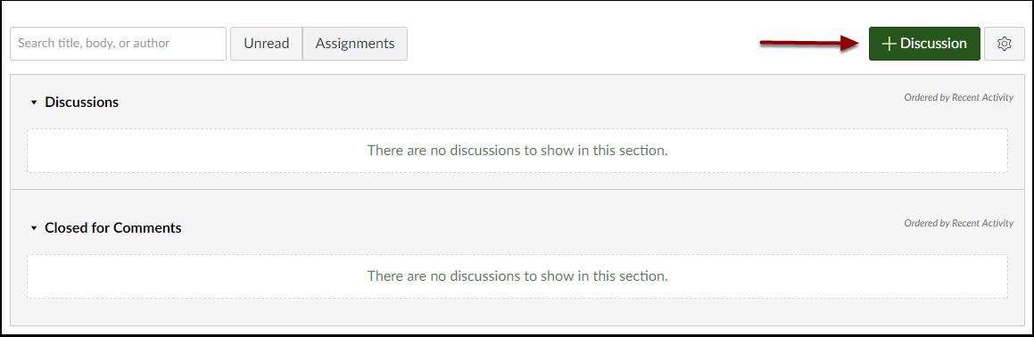 Canvas add discussion button
