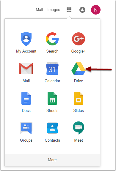 Google Applications dropdown