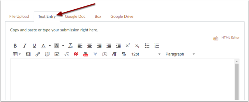 Canvas text entry submission tab