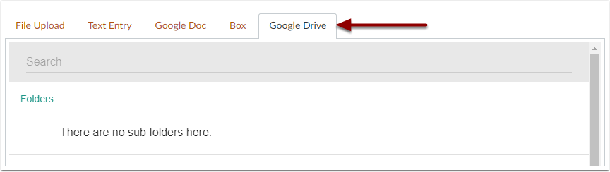 Canvas Google Drive submission tab