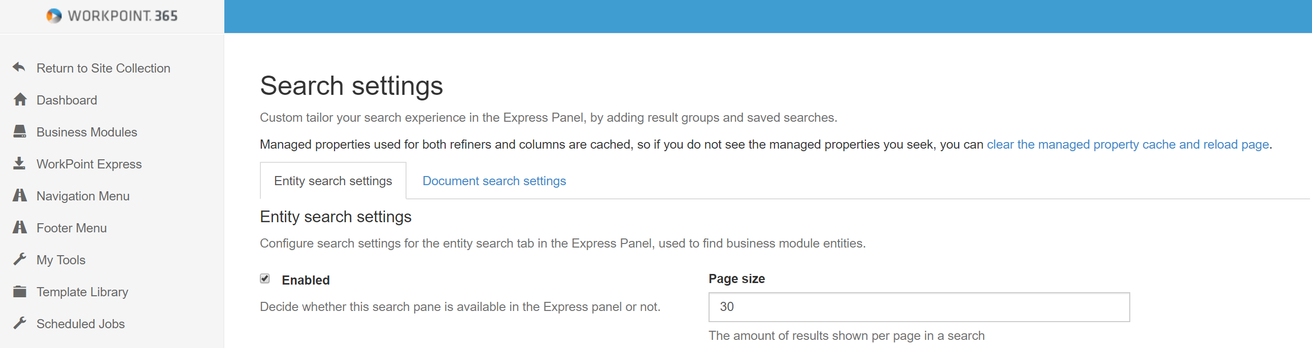 Express Panel Search and Search settings – Welcome! How can