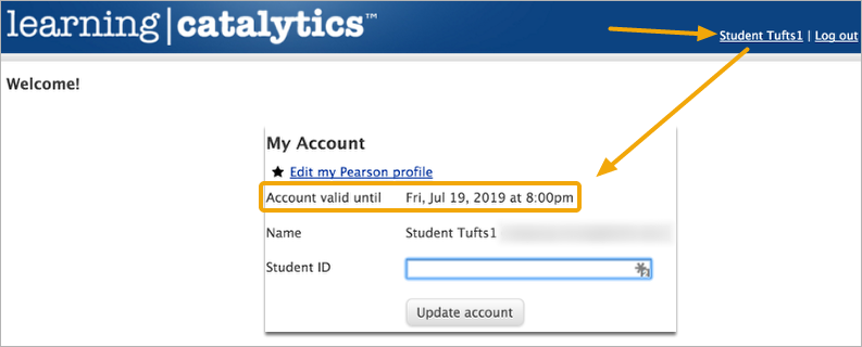 Click on your account name to check your expiration date