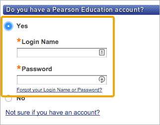 """Select """"Yes"""" if you already have an existing Pearson account"""