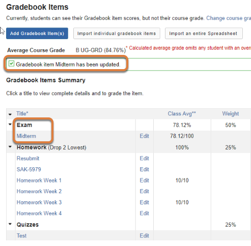 Gradebook Items Summary