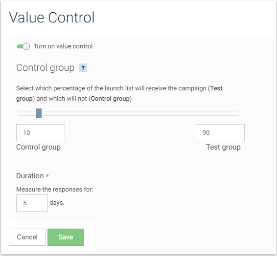 value control emarsys select how much of the launch list should be used for the control group these will be contacts selected at random from the email launch list and will not