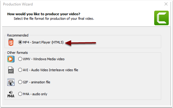 Select MP4 in Production Wizard Window