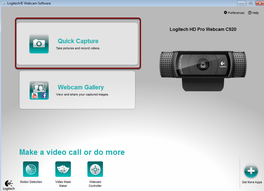 Logitch Software window highlighting Quck Capture button