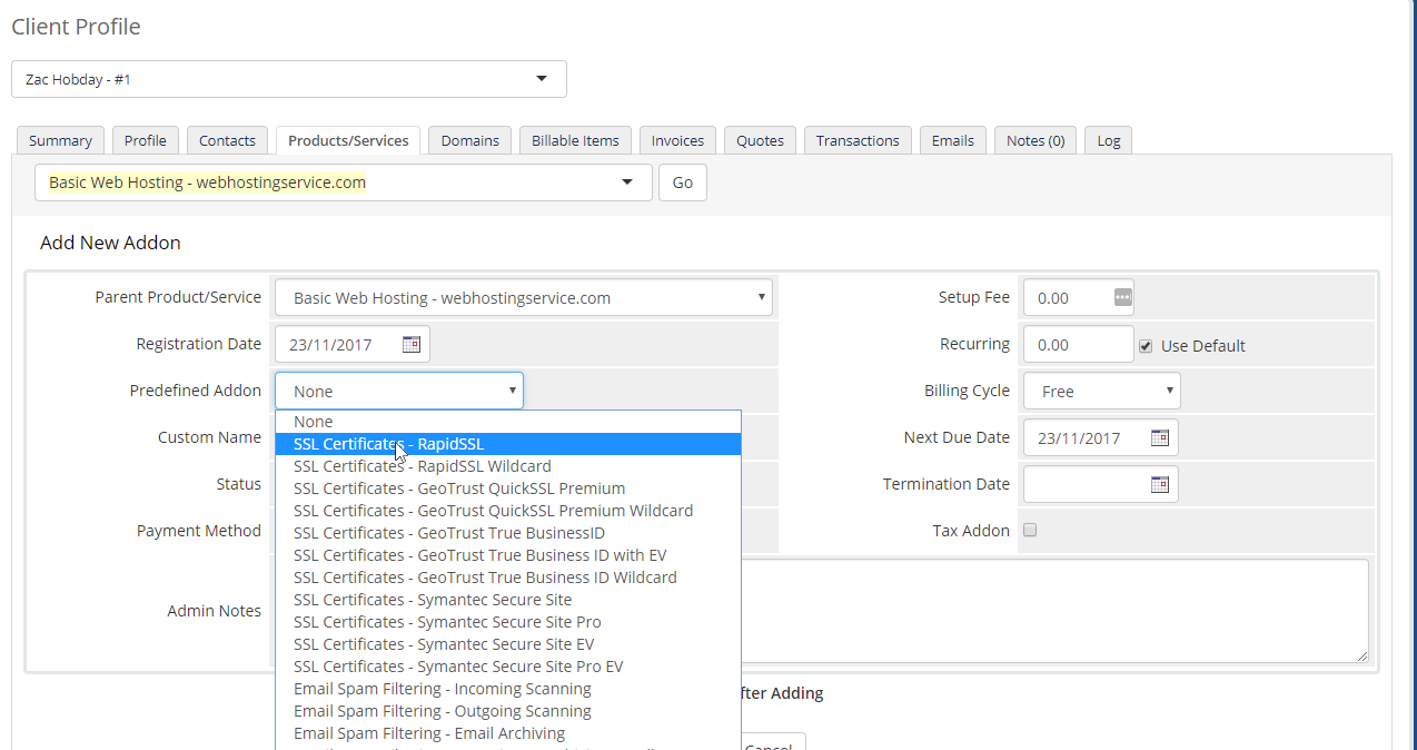 Ssl walkthrough for domains with hosting account getting started on the add new addon page select the ssl certificate product you wish to auto provision from the predefined addon dropdown menu as shown below 1betcityfo Images