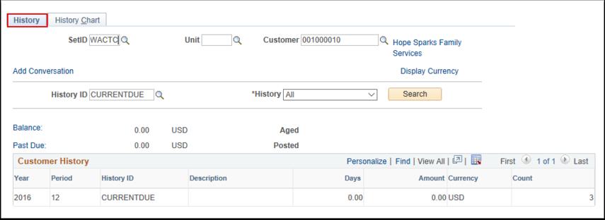 Customer History Page