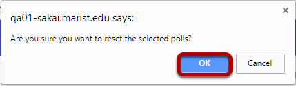 Click OK to confirm the reset.