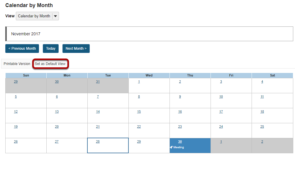 Set default view of calendar.