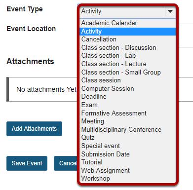 Event type.